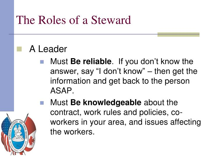 The Roles of a Steward