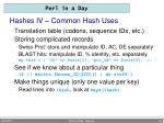 hashes iv common hash uses