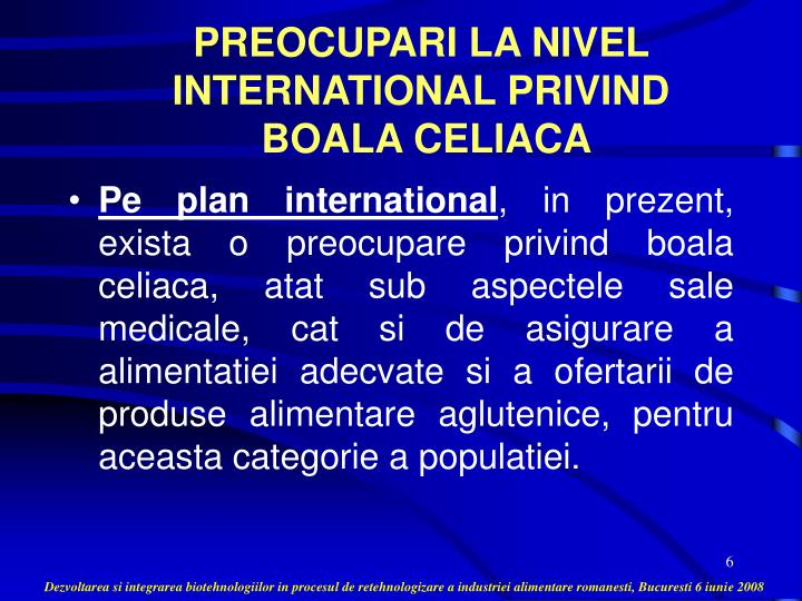 PREOCUPARI LA NIVEL INTERNATIONAL PRIVIND