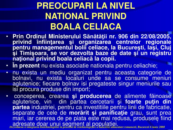 PREOCUPARI LA NIVEL NATIONAL PRIVIND