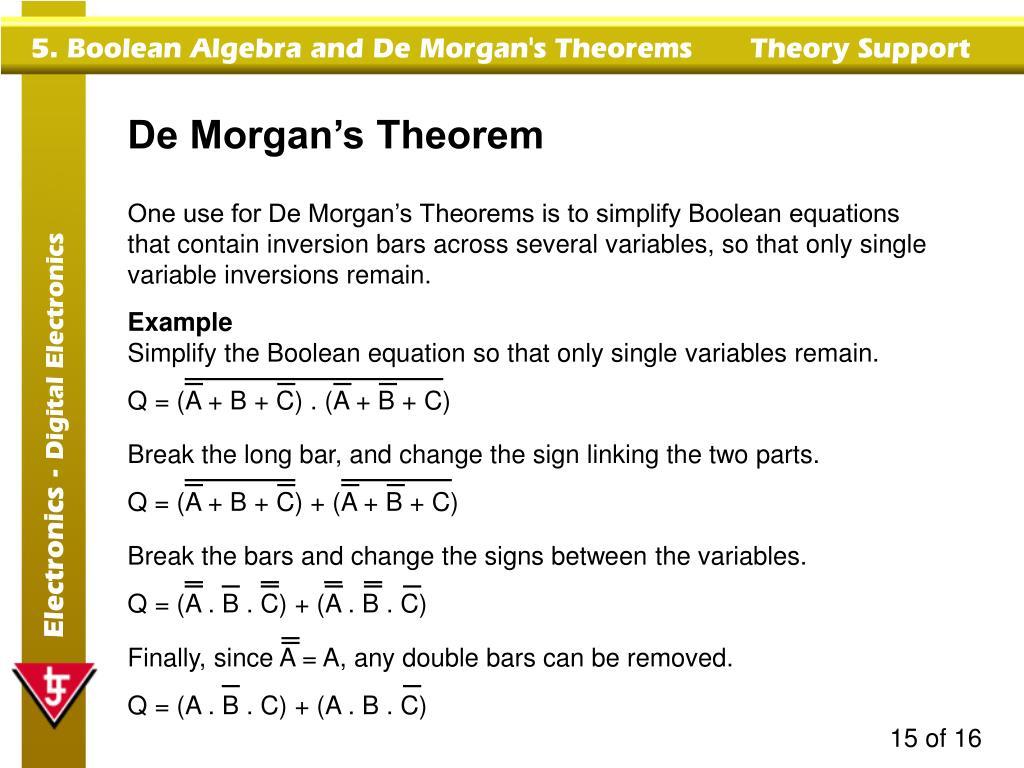PPT - Boolean Algebra & De Morgan's Theorems PowerPoint