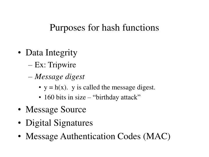 Purposes for hash functions