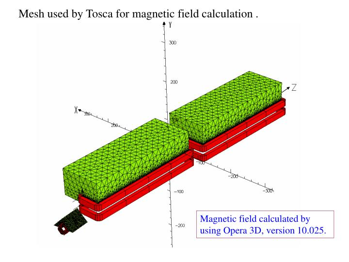 Mesh used by Tosca for magnetic field calculation .