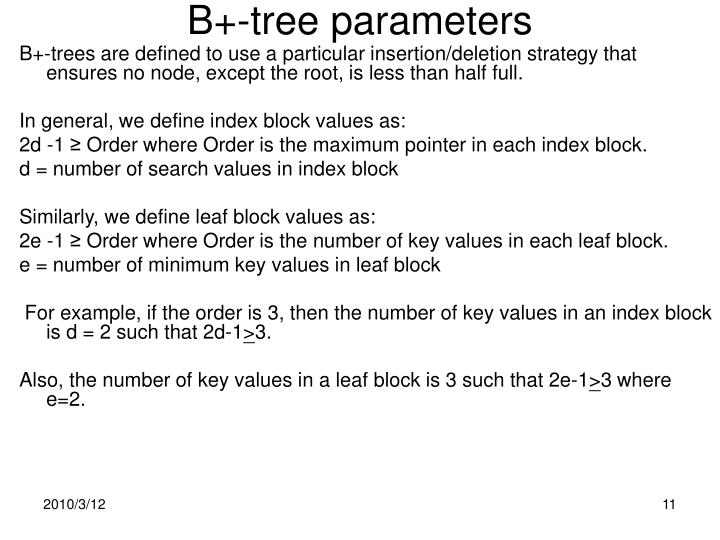 B+-tree parameters