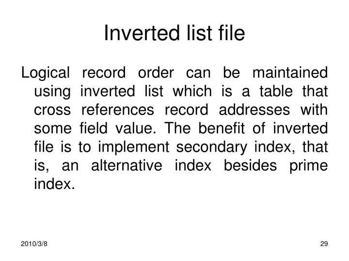 Inverted list file