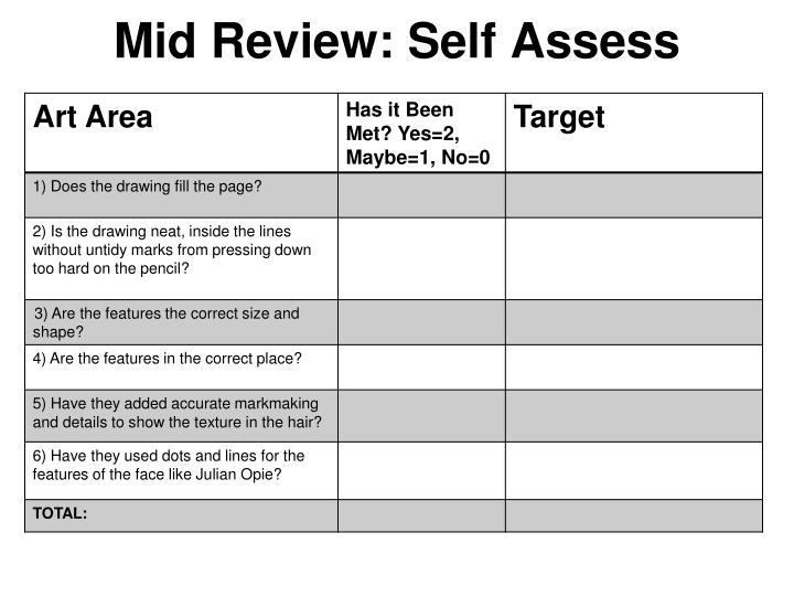 Mid Review: Self Assess