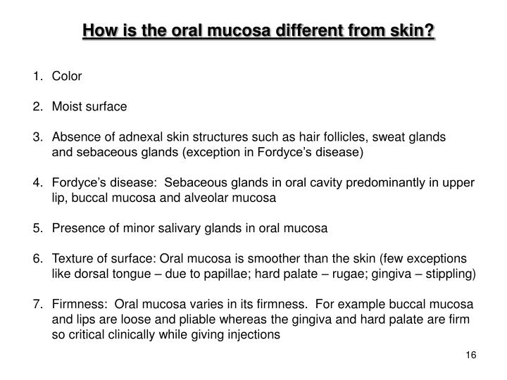 How is the oral mucosa different from skin?