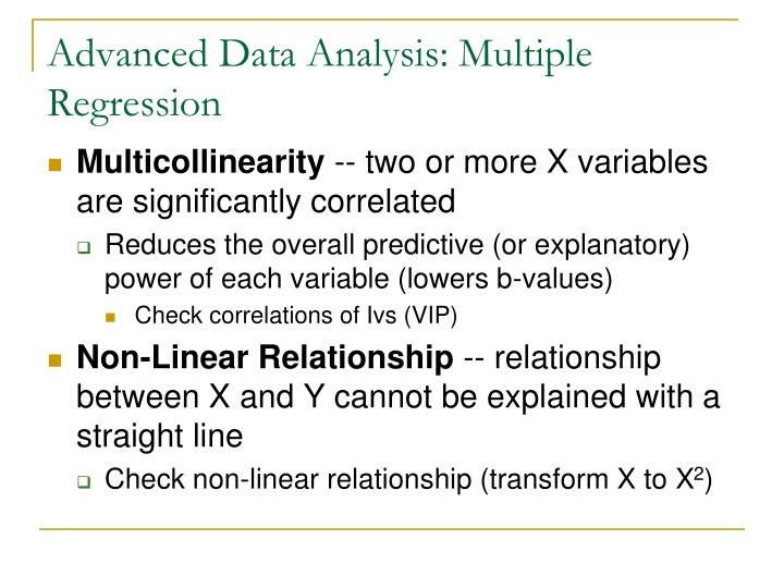 Advanced Data Analysis: Multiple Regression