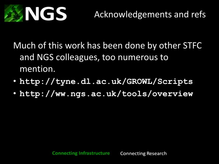Acknowledgements and refs
