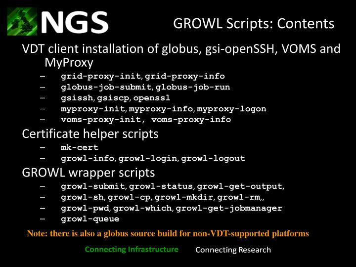GROWL Scripts: Contents