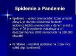 epidemie a pandemie