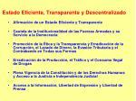 estado eficiente transparente y descentralizado