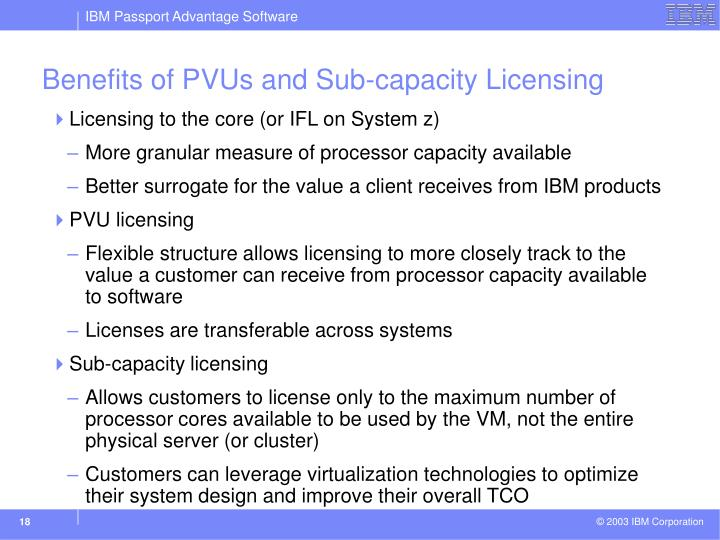 Benefits of PVUs and Sub-capacity Licensing