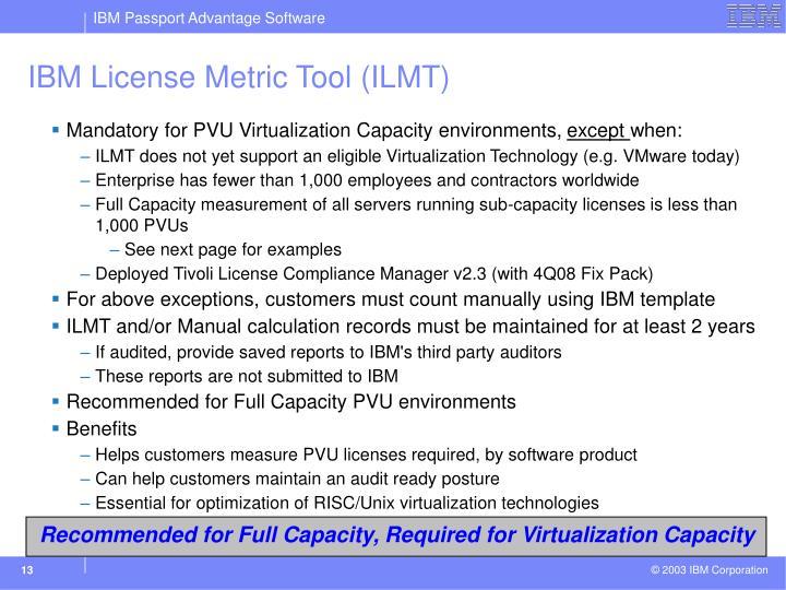IBM License Metric Tool (ILMT)