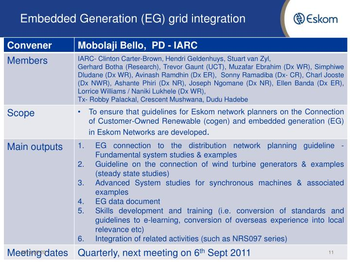 Embedded Generation (EG) grid integration