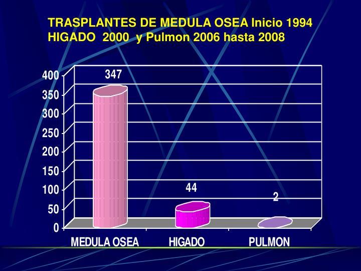 TRASPLANTES DE MEDULA OSEA Inicio 1994    HIGADO  2000  y Pulmon 2006 hasta 2008