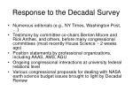 response to the decadal survey