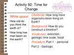 activity 92 time for change