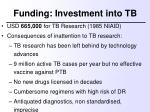 funding investment into tb