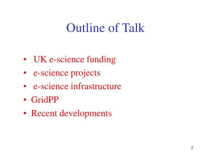 Outline of talk