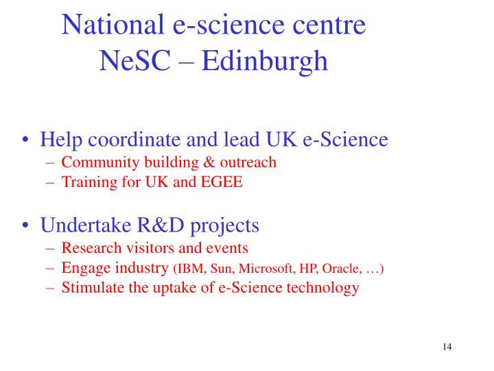 National e-science centre