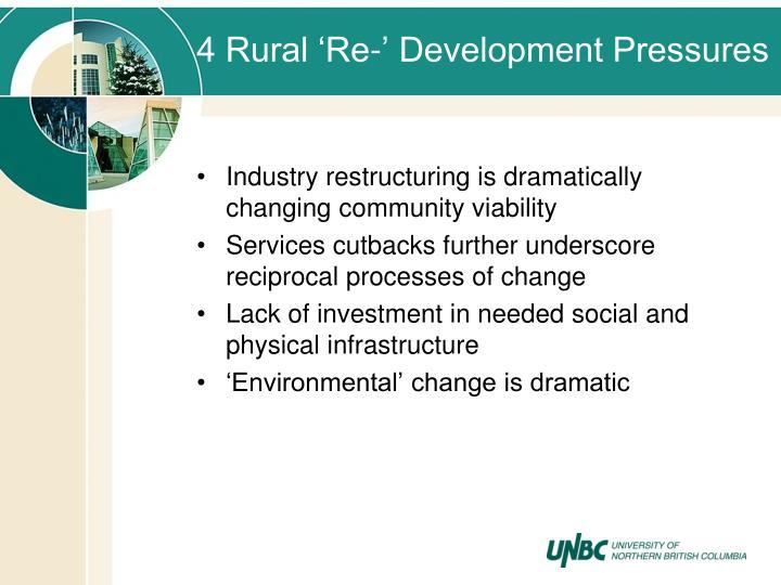 4 Rural 'Re-' Development Pressures