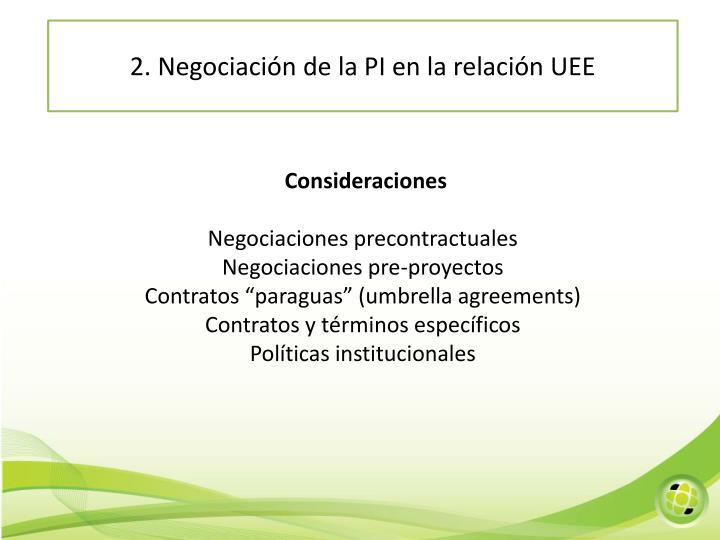 2. Negociación de la PI en la relación UEE