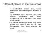 different places in tourism areas