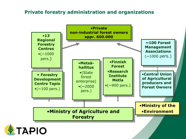 Private forestry administration and organizations