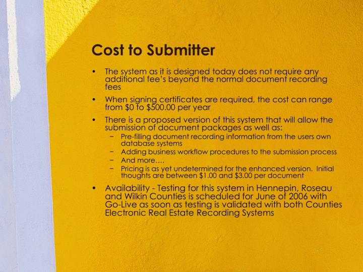 Cost to Submitter