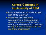 central concepts in applicability of ebm