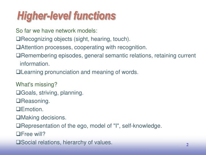Higher level functions