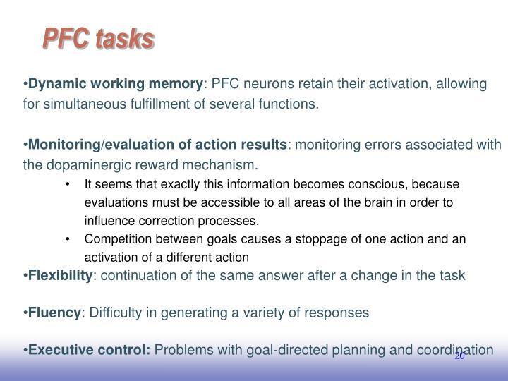 PFC tasks