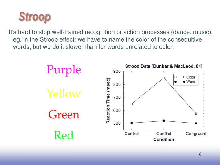It's hard to stop well-trained recognition or action processes (dance, music), eg. in the Stroop effect: we have to name the color of the