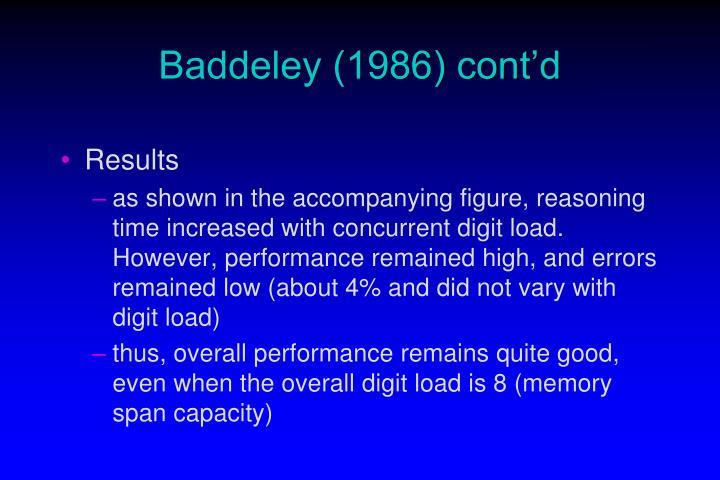 Baddeley (1986) cont'd
