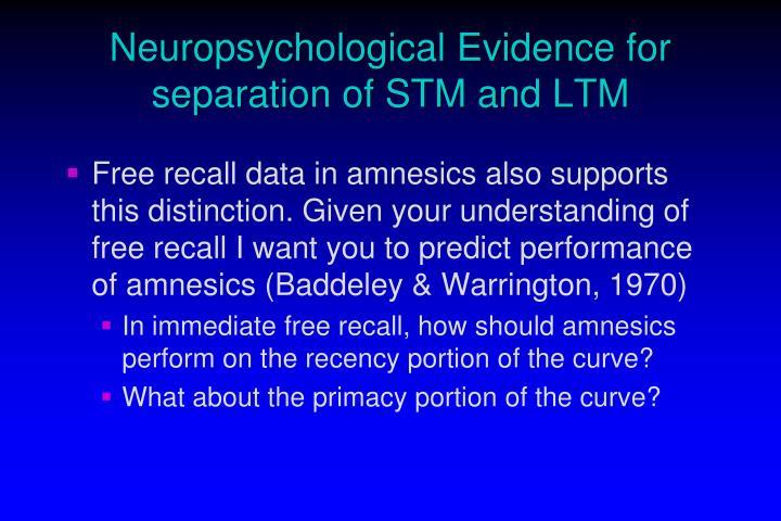 Neuropsychological Evidence for separation of STM and LTM