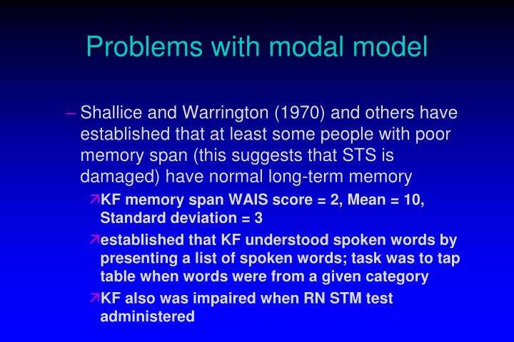 Problems with modal model