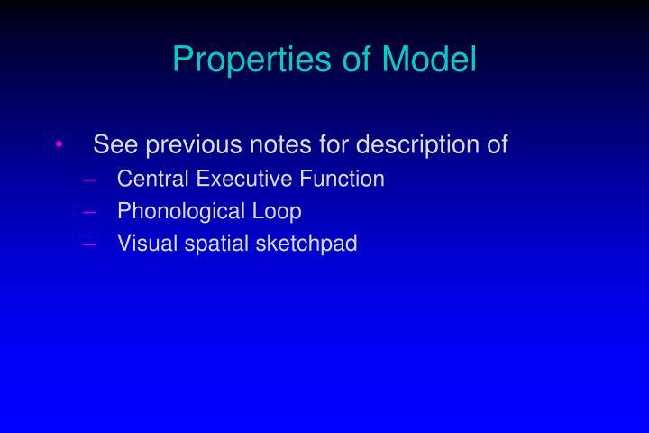 Properties of Model