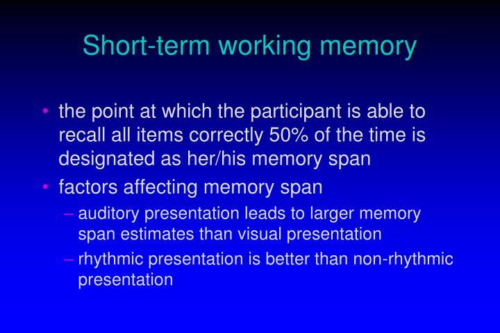 Short term working memory2