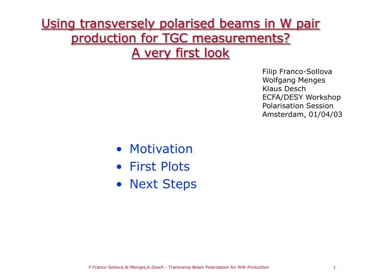 Using transversely polarised beams in w pair production for tgc measurements a very first look