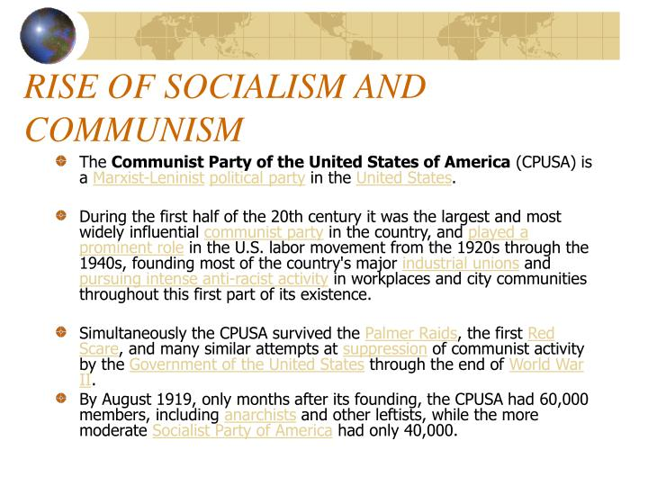 RISE OF SOCIALISM AND COMMUNISM