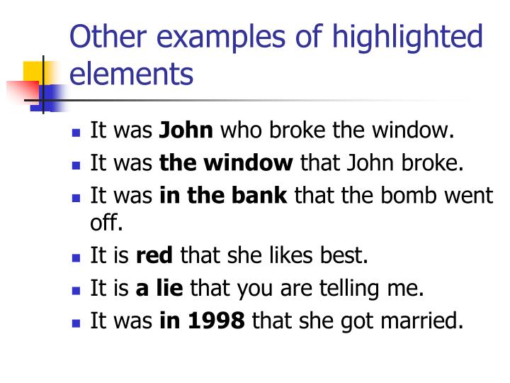 Other examples of highlighted elements