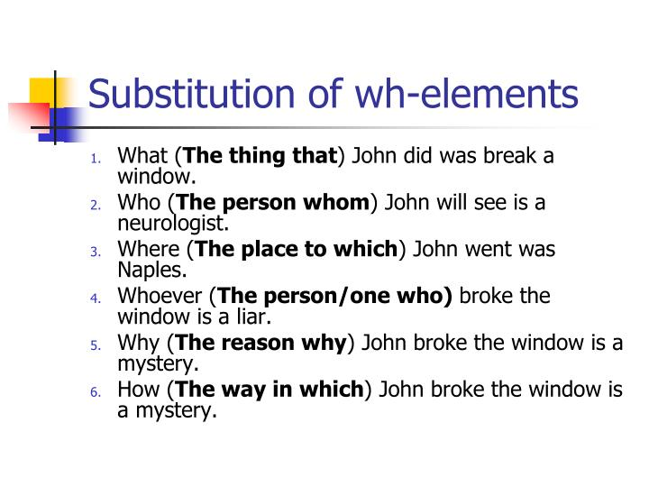 Substitution of wh-elements