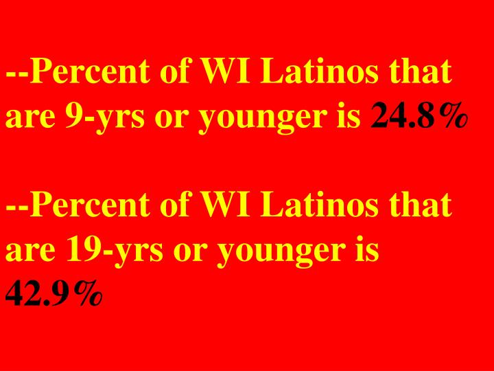 --Percent of WI Latinos that are 9-yrs or younger is