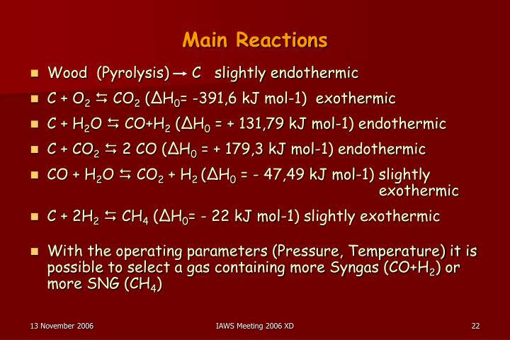 Main Reactions