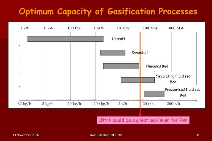 Optimum Capacity of Gasification Processes
