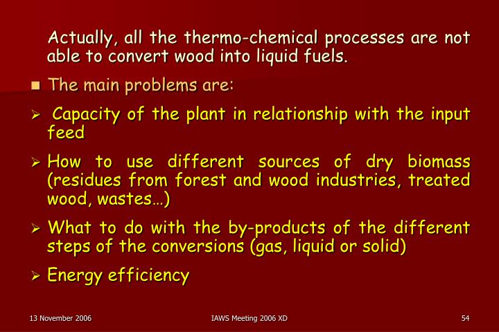 Actually, all the thermo-chemical processes are not able to convert wood into liquid fuels.