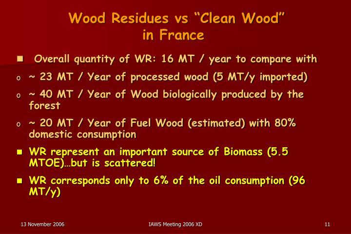 """Wood Residues vs """"Clean Wood"""""""
