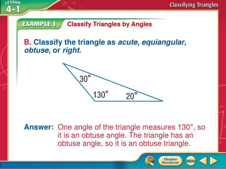 Classify Triangles by Angles