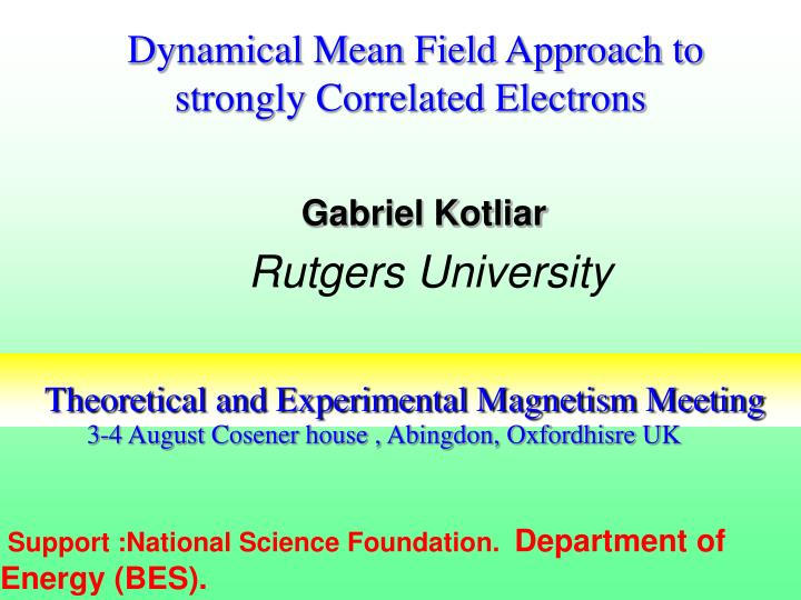 theoretical and experimental magnetism meeting n.